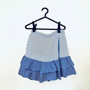 J.Crew white blue tiered skirt 8